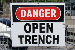 Danger open trench sign Royalty Free Stock Photos