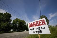 Danger Overhead Wires Stock Photos