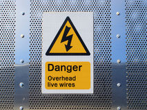 Danger overhead wires sign Stock Photography