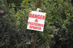 Danger Pesticides Sprayed Sign Stock Images