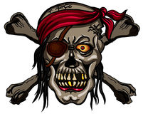 Danger pirate skull in red bandanna and crossbones Royalty Free Stock Image