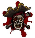 Danger pirate skull in red bandanna and crossbones Royalty Free Stock Photo