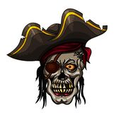 Danger pirate skull in red bandanna Royalty Free Stock Image