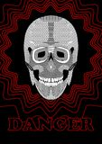 Danger placard with skull drawing. Black and white skull on black background   Stock Images