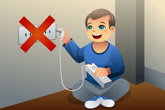 Danger of playing with an electrical outlet. A vector illustration showing the danger of a kid playing with an electrical outlet Royalty Free Stock Photo