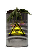 Danger - Poison - Death. A tin can with the poison skull and crossbones symbol on it Royalty Free Stock Images