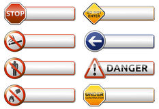 Danger, prohibition sign banner collection. Isolated  Danger, prohibition sign (symbol) banner collection with reflection on white background for your text Royalty Free Stock Photos