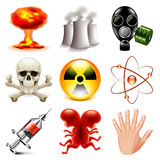 Danger and radioactive icons vector set Royalty Free Stock Photography