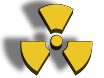 Danger radioactive sign. 3D illustration of a danger radioactive sign on white background Stock Image