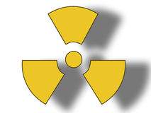 Danger radioactive sign. 3D illustration of a danger radioactive sign on white background Royalty Free Stock Image