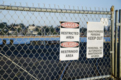 Danger Restricted Area and Keep Out signs Royalty Free Stock Images