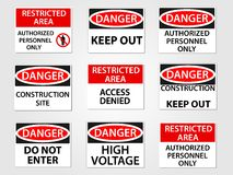 Danger and Restricted Area Signs Set. Danger and Restricted Area Workplace Signs Set Royalty Free Stock Image