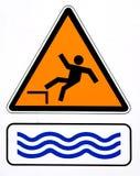 Danger, risk falling in water. Warning sign. vector illustration