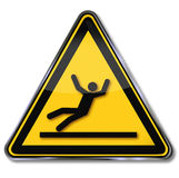 Danger and risk of slipping. Danger and warning risk of slipping Stock Photo