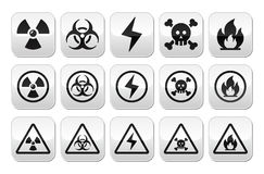 Danger, risk, warning buttons set. Vector attention buttons set isolated on white Stock Image