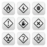 Danger, risk, warning buttons set. Vector attention buttons set isolated on white Stock Images