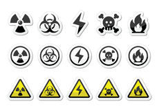 Danger, risk, warning icons set Royalty Free Stock Photos