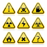 Danger, risk, warning modern traingle signs set. Vector attention yellow and black signs with reflection isolated on white Stock Photography