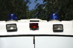 Danger on the road. Blue flasher on the police car at night. Danger on the road. Blue flasher on the police car at night Royalty Free Stock Image