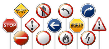Danger road board mix collection Royalty Free Stock Photography