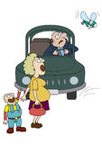 Danger on the road. Illustration driver in a car, a woman and a child. They are stare at the big fly Royalty Free Stock Image