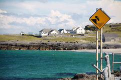 Danger road sign in Inisheer village, Ireland Stock Photos