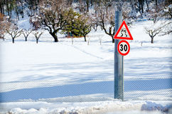 Danger road sign snow Stock Photography