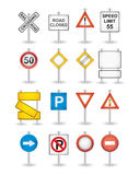 Danger road signs set Stock Photos