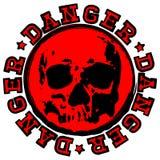 Danger rouge de timbre de crâne illustration de vecteur