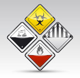 Danger round corner warning sign set. Isolated  Danger sign collection with black border, reflection and shadow on light background Royalty Free Stock Image