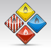 Danger round corner warning sign set. Isolated  Danger flammable sign collection with black border, reflection and shadow on light background Royalty Free Stock Photo