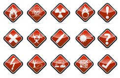 Danger round corner warning sign set. Isolated  orange Danger sign collection with black border, reflection and shadow on white background Stock Images