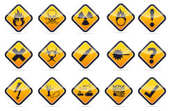 Danger round corner warning sign set. Orange Danger sign collection with black border, reflection and shadow on white background Stock Photography