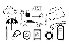 Danger & safety icon set. In black and white Stock Photos