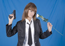 Danger school girl Stock Image