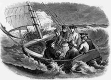 In danger on the seas. Men caught in a sailing boat in rough seas, engraving from Selections from the Journal of John Wesley, 1891 Royalty Free Stock Photo
