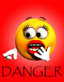 Danger Shock 2. Image of a very shocked female cartoon face, pointing at the word danger vector illustration