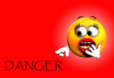 Danger Shock 5. Image of a very shocked female cartoon face, pointing at the word danger royalty free illustration