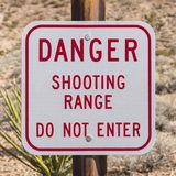 Danger Shooting Range Sign. Danger shooting range do not enter sign Royalty Free Stock Photos