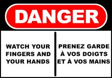 Danger sign. Illustration of a danger sign - watch your fingers and your hands Stock Photos