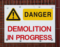 Danger sign. On a construction fence Stock Photo