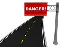 Danger sign. 3d illustration of asphalt road with red danger sign Royalty Free Stock Image