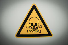 Danger sign. Yellow triangular danger sign with black skull Royalty Free Stock Photos