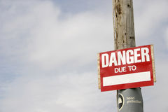 Danger Sign. Danger - due to Royalty Free Stock Photos