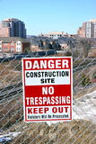 Danger Sign. A Danger sign indicating an area under construction Stock Photo