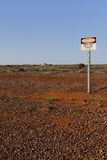Danger sign. In opal mining field in Coober Pedy (South Australia Stock Photo
