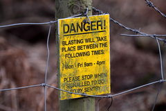 Danger sign. Photograph of a danger sign at a quarry Royalty Free Stock Image