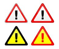 Danger sign. Four danger sign with exclamation mark. Vector available Royalty Free Stock Images