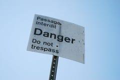Danger sign. Do not trespass danger sign Royalty Free Stock Photography