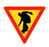 Danger sign. For skateboarding isolated on the white background Stock Image
